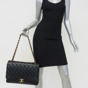 Chanel Quilted Maxi Double Flap Bag Black Lambskin